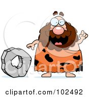 Chubby Caveman Standing By A Stone Wheel