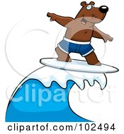Royalty Free RF Clipart Illustration Of A Surfing Bear Riding A Wave by Cory Thoman