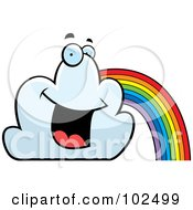 Royalty Free RF Clipart Illustration Of A Happy Smiling Cloud And Rainbow by Cory Thoman