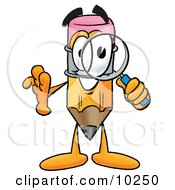 Pencil Mascot Cartoon Character Looking Through A Magnifying Glass by Toons4Biz