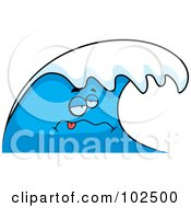 Royalty Free RF Clipart Illustration Of A Sea Sick Blue Wave by Cory Thoman