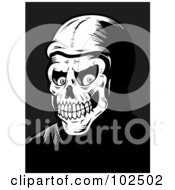 Royalty Free RF Clipart Illustration Of A Black And White Skeleton Face Grinning