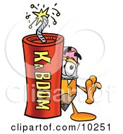 Pencil Mascot Cartoon Character Standing With A Lit Stick Of Dynamite