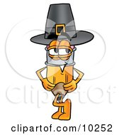 Pencil Mascot Cartoon Character Wearing A Pilgrim Hat On Thanksgiving by Toons4Biz