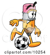 Pencil Mascot Cartoon Character Kicking A Soccer Ball