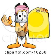 Pencil Mascot Cartoon Character Holding A Yellow Sales Price Tag