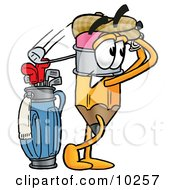 Pencil Mascot Cartoon Character Swinging His Golf Club While Golfing by Toons4Biz