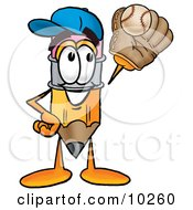 Pencil Mascot Cartoon Character Catching A Baseball With A Glove