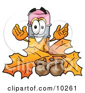 Pencil Mascot Cartoon Character With Autumn Leaves And Acorns In The Fall