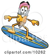 Pencil Mascot Cartoon Character Surfing On A Blue And Yellow Surfboard by Toons4Biz