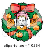 Pencil Mascot Cartoon Character In The Center Of A Christmas Wreath