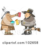 Royalty Free RF Clipart Illustration Of A Thanksgiving Pilgrim And Native American Drinking Coffee