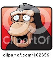 Royalty Free RF Clipart Illustration Of A Happy Monkey Face Over A Red Square by Cory Thoman