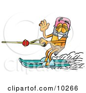 Pencil Mascot Cartoon Character Waving While Water Skiing