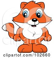 Royalty Free RF Clipart Illustration Of A Cute Baby Fox Standing by Cory Thoman
