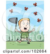 Royalty Free RF Clipart Illustration Of A Happy Blond Boy Chasing Butterflies With A Net