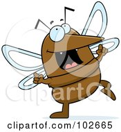 Royalty Free RF Clipart Illustration Of A Happy Dancing Mosquito by Cory Thoman