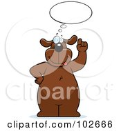 Royalty Free RF Clipart Illustration Of A Thinking Dog Holding Up A Finger