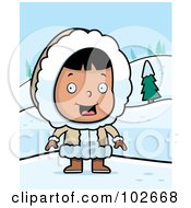 Royalty Free RF Clipart Illustration Of A Happy Eskimo Girl In The Snow by Cory Thoman