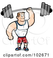 Royalty Free RF Clipart Illustration Of A Fitness Man Holding Up A Barbell With One Hand by Cory Thoman