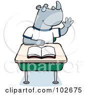 Royalty Free RF Clipart Illustration Of A Smart Rhino Student Raising His Hand