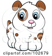 Royalty Free RF Clipart Illustration Of A Cute White Puppy Dog With Brown Spots