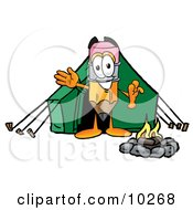 Clipart Picture Of A Pencil Mascot Cartoon Character Camping With A Tent And Fire