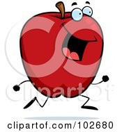 Royalty Free RF Clipart Illustration Of A Happy Running Apple