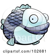 Royalty Free RF Clipart Illustration Of A Happy Fat Blue Fish by Cory Thoman