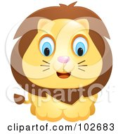 Royalty Free RF Clipart Illustration Of An Adorable Blue Eyed Lion by Cory Thoman