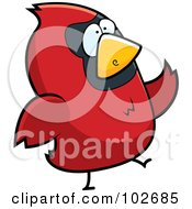 Royalty Free RF Clipart Illustration Of A Red Bird Walking by Cory Thoman