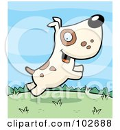 Royalty Free RF Clipart Illustration Of A Beige Dog With Spots Jumping In A Dog Park