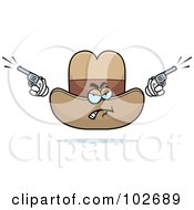 Royalty Free RF Clipart Illustration Of An Angry Cowboy Hat Firing Pistils by Cory Thoman