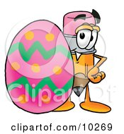 Pencil Mascot Cartoon Character Standing Beside An Easter Egg