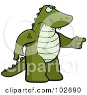 Royalty Free RF Clipart Illustration Of An Angry Alligator Pointing by Cory Thoman