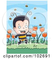 Royalty Free RF Clipart Illustration Of A Little Bee Boy With Bees And Tulips by Cory Thoman