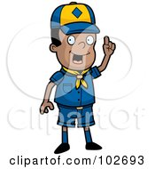 Royalty Free RF Clipart Illustration Of A Smart Black Cub Scout Boy Holding Up His Finger by Cory Thoman