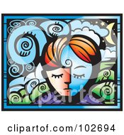 Royalty Free RF Clipart Illustration Of A Persons Face And A Dreamscape by Cory Thoman