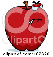 Royalty Free RF Clipart Illustration Of A Bad Apple With An Angry Expression by Cory Thoman