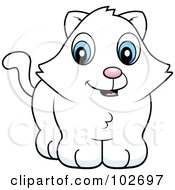 Royalty Free RF Clipart Illustration Of A Cute White Kitten by Cory Thoman