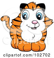 Royalty Free RF Clipart Illustration Of A Baby Tiger Smiling by Cory Thoman