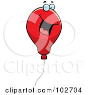 Royalty Free RF Clipart Illustration Of A Happy Smiling Red Balloon by Cory Thoman