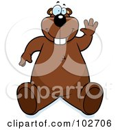 Royalty Free RF Clipart Illustration Of A Goofy Waving Beaver Making A Funny Face by Cory Thoman