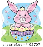 Pink Easter Bunny With Hearts In An Egg Shell