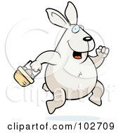 Royalty Free RF Clipart Illustration Of A Hopping White Easter Bunny With A Basket by Cory Thoman
