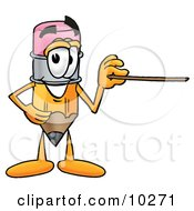 Pencil Mascot Cartoon Character Pointing At The Viewer