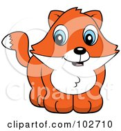Royalty Free RF Clipart Illustration Of A Cute Baby Fox Smiling by Cory Thoman