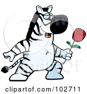 Royalty Free RF Clipart Illustration Of A Romantic Zebra Giving A Rose