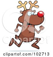 Royalty Free RF Clipart Illustration Of Rudolph The Reindeer Running