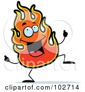 Royalty Free RF Clipart Illustration Of A Happy Dancing Flame